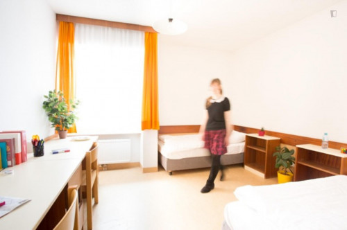 Bed in a twin bedroom, in a residence in Mödling