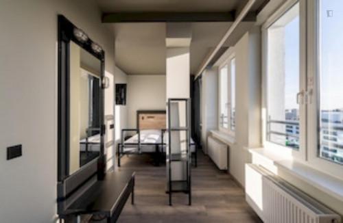 Modern single bedroom in a residence near Szpital Wolski 06 tram stop
