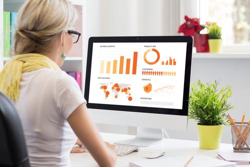 Visual Learner Girl staring at screen graphs